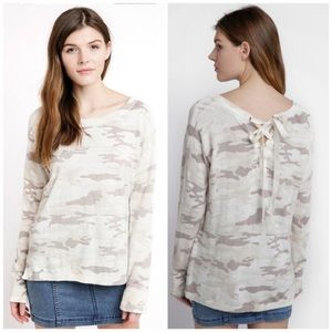 Sanctuary cream lace up pullover, large